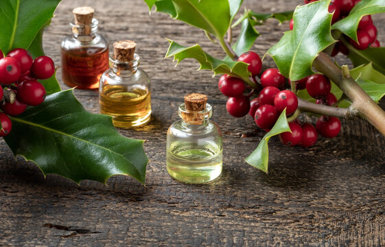 Essential oil bottle with holly twigs