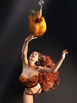 3D Photo of a Long-Haired Woman Grabbing a Halloween Pumpkin