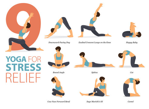 9 Yoga poses or asana posture for workout in Stress Relief concept. Women exercising for body stretching. Fitness infographic. Flat cartoon vector.