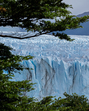 Vertical view of the surface of the Perito Moreno Glacier in Southern Argentina in Patagonia, hike on the glacier