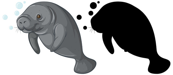 Set of dugong characters and its silhouette on white background