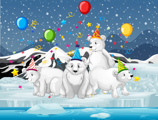 Polar bear group in party theme cartoon character on forest background