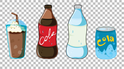 Set of different types of soft or sweet drinks isolated on transparent background
