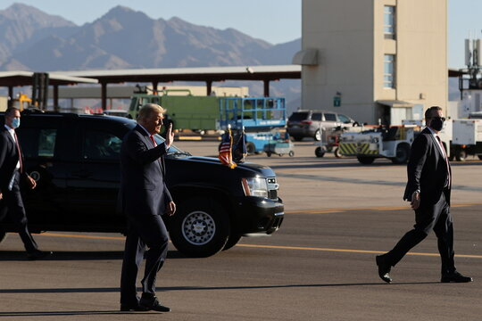 U.S. President Trump walks to board Air Force One after rallying with supporters in Goodyear, Arizona