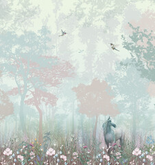 Children's wallpaper. Blue and pink forest. Fairy forest with horse and caliber.