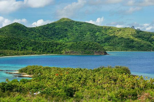 View of Drawaqa and Naviti Islands coastlines, Yasawa Islands, Fiji