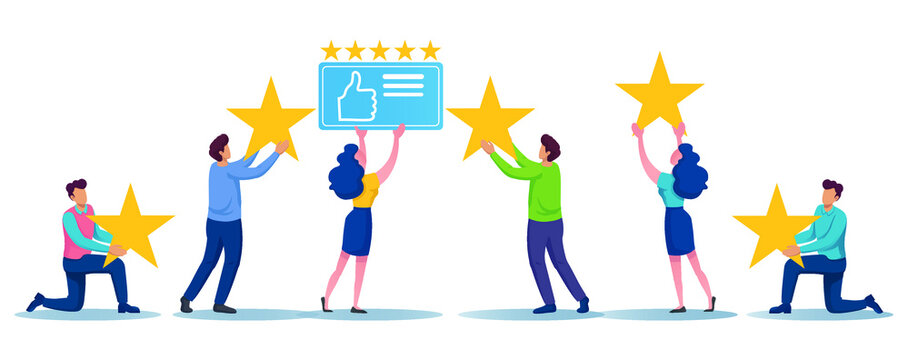 Group of people carry 5 stars and thumb up icons together concept.