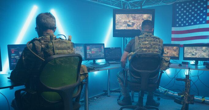 American secret base in dark field