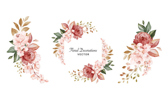 Set of watercolor floral arrangements of brown and peach roses and leaves. Botanic decoration illustration for wedding card, fabric, and logo composition