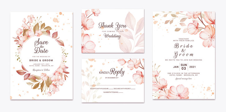 Floral wedding invitation template set with brown sakura flowers and leaves decoration. Botanic card design concept
