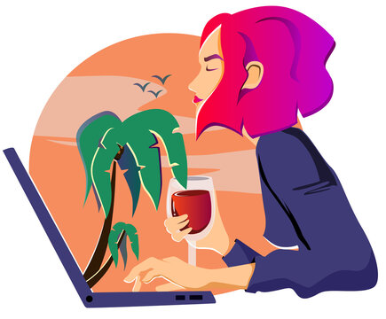Vacation in Zoom, girl enjoying palm trees and sea from laptop