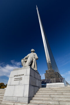 MOSCOW, RUSSIA- OKTOBER 05, 2020: Monument to the Conquerors of Space and statue of Konstantin Tsiolkovsky, the precursor of astronautics, in Moscow, Russia