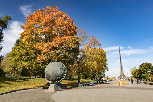Moscow, Russia - october 05, 2020: The Monument to the Conquerors of Space, Cosmonauts alley and statue of Konstantin Tsiolkovsky