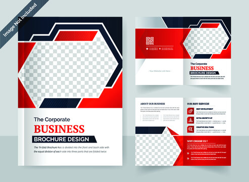 Corporate business bi fold brochure design template with modern, minimal and abstract design in A4 bi-fold template format