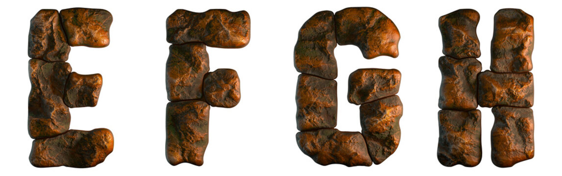 Set of rocky letters E, F, G, H. Font of stone on white background. 3d