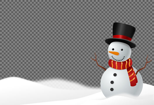 Snowman wearing  hat and scarf smile  in snowy landscapes isolate on png or transparent  background, graphic resources  for  Christmas,New  Year, Birthdays, Special event, vector illustration