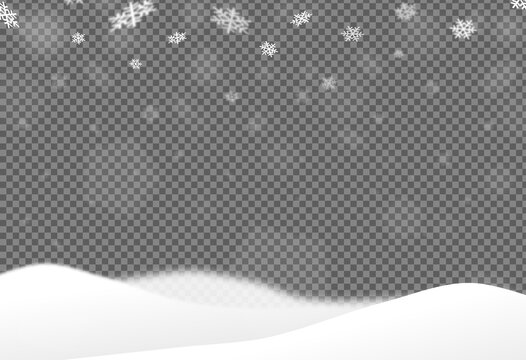 Christmas bokeh falling snow with snowy landscapes isolate on png or transparent  background with sparkling  snowflake, star light  for New Year, Birthdays, Special event, luxury card,  vector