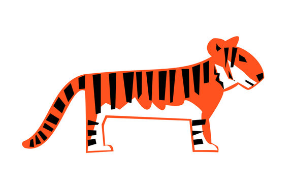 Graphic image of a tiger on a white background