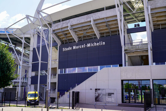stade Marcel Michelin with text sign on entrance sport ASM Rugby in Clermont city in Auvergne
