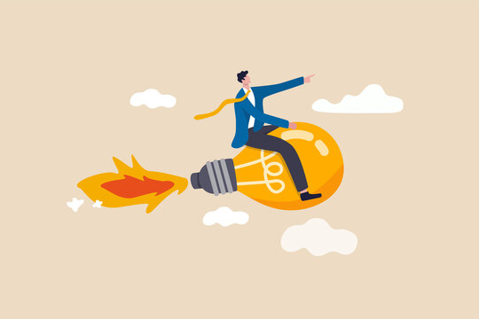 Creative new idea, innovation start up business or inspiration to achieve success goal concept, happy smart businessman leader riding flying bright lightbulb lamp with rocket booster in the cloud sky.