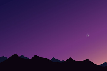 night landscape with mountains