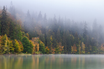 Autumn landscape at St. Ana Lake, in the heart of Transylvania, Romania
