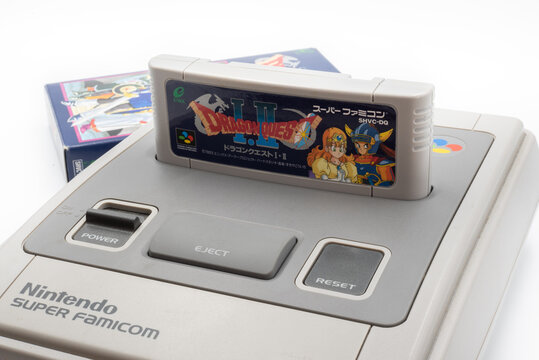 Fukuoka, Japan - may 1, 2019 : Enix 1990's games dragon quest 1 and 2 cartridge plugged into the original Nintendo Super Famicom