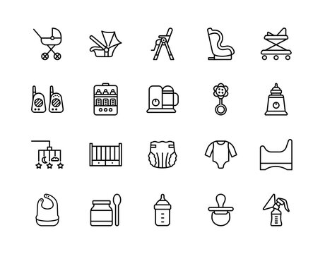Baby items flat line icons set. Vector illustration necessary things for the baby and parents. Editable strokes.