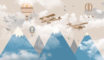 children's wallpaper mountains balls aircraft