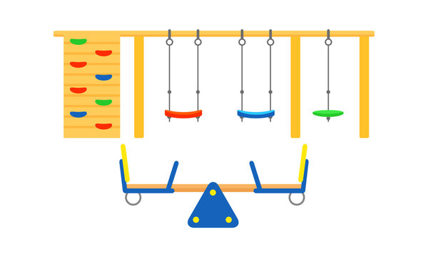Kids Playground Elements with Climbing Wall and Seesaw Vector Set