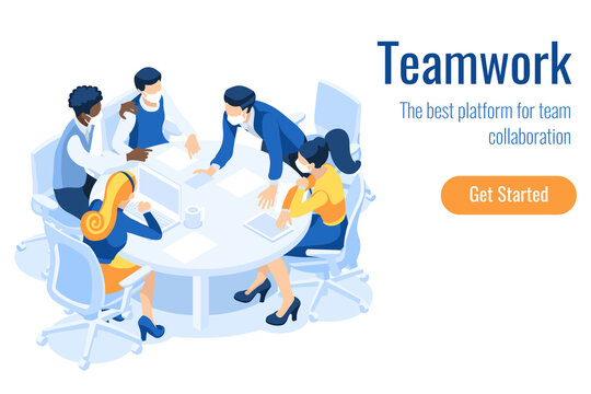Cartoon characters on a project, brainstorm process on the board. Teamwork at the desk and board. Team processing an office brainstorming, people's project for a meeting. Character cartoon Vector.