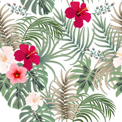 Tropical vector seamless pattern with leaves of palm tree and flowers