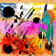 abstract background composition, with circles, paint strokes and splashes, grungy