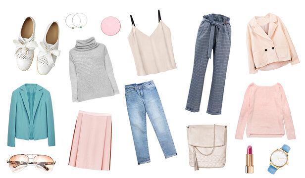 Fashion garment set,women's clothing,gir's clothes isolated on white.
