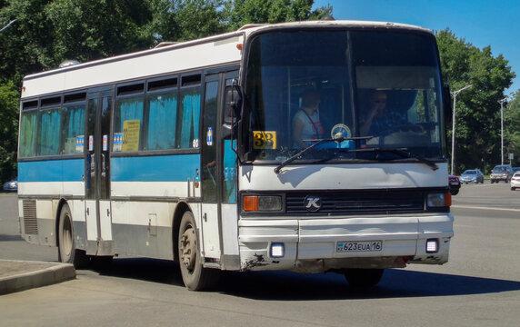 Kazakhstan, Ust-Kamenogorsk, june 22, 2020: Setra S215. Old bus on one of the city streets. Public transport. Setra buses