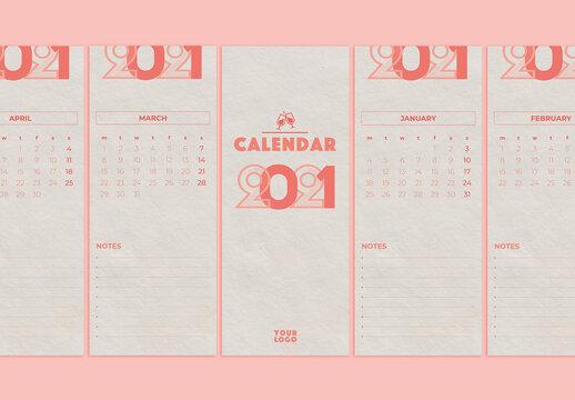 thin Format Printable 2021 Calendar