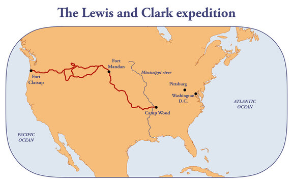 The route of Lewis and Clark  expedition