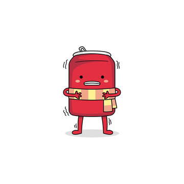 Cute cold and shivering red can cartoon character wearing scarf
