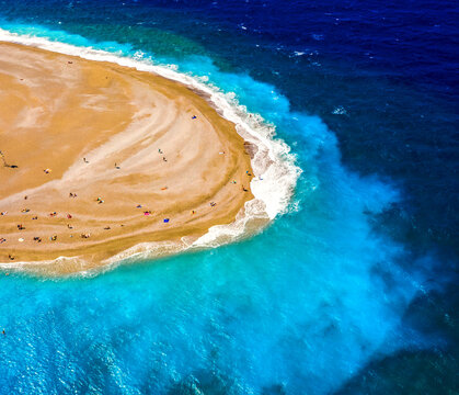 aerial drone view on Rhodes island town Elli beach popular summer tourist destination, Dodecanese, Aegean, Greece