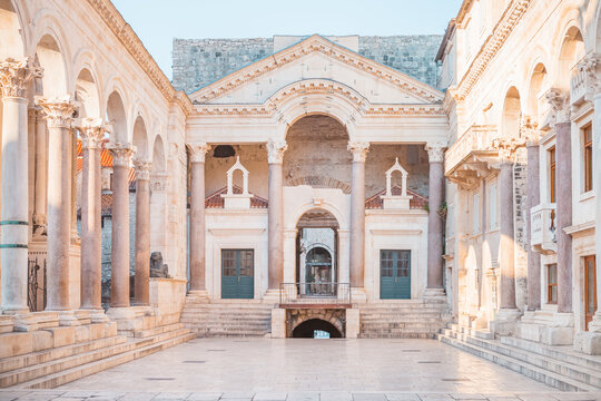SPLIT, CROATIA - JULY 10, 2017: Ancient palace built for the Roman Emperor Diocletian - Split, Croatia