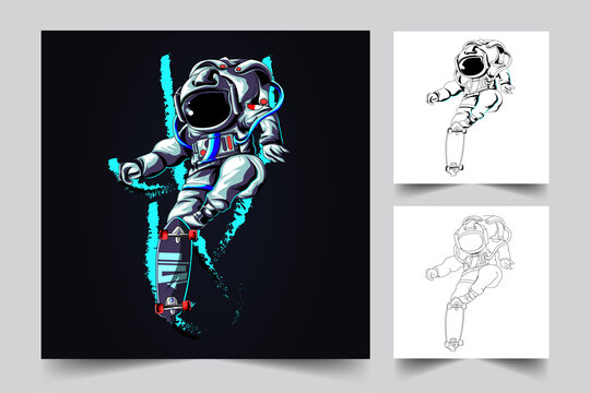vector hand drawn of astronaut skateboard illustration, inking and full colour