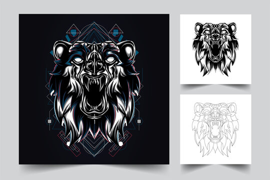 vector hand drawn of angry bear illustration, inking and full colour