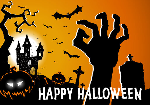 Halloween greeting card with horror elements creepy castle, hand from grave, pumpkin and graveyard. Happy Halloween festive poster, party invitation flyer, background. Place for text. Vector
