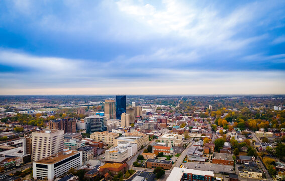 Aerial panorama of downtown Lexington, Kentucky with the business district on the foreground