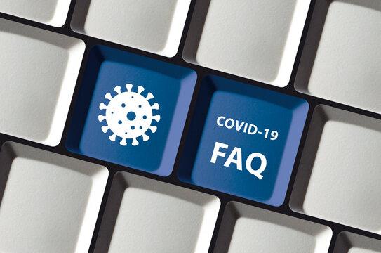 Corona COVID-19 virus FAQ on blue keyboard buttons