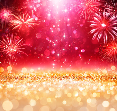 Abstract Christmas Celebration - Shiny Golden Glitter With Defocused Lights And Fireworks On red Background - contain 3d Illustration