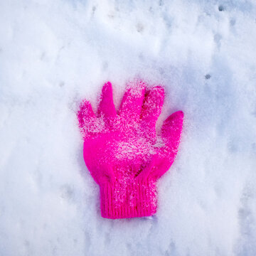 Bright pink glove left in the snow.  St Paul Minnesota MN USA