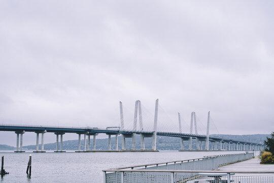 Misty view of Tappan Zee bridge on the Hudson River in New York