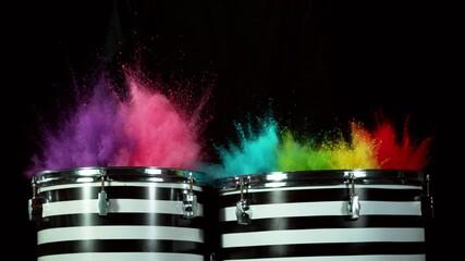 Fototapete - Super slow motion of  drummer banging on drums with colored powder explosion. Filmed on high speed cinema camera, 1000 fps.