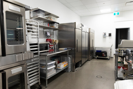 Catering kitchen interior with baking equipment